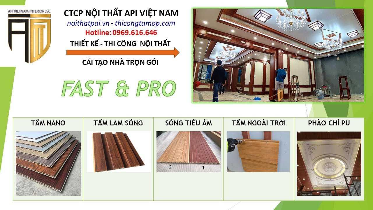 Nội Thất API Việt Nam: Tấm Nano, Tấm Lam sóng, tấm tiêu âm, tấm ngoài trời, phào chỉ PU